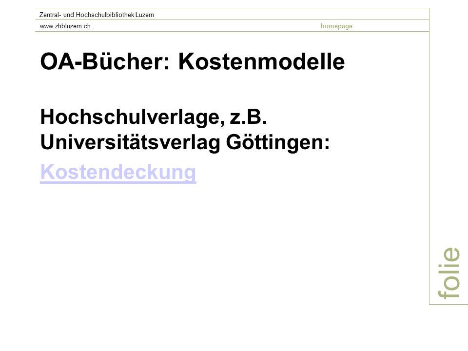 OA-Bücher: Kostenmodelle Hochschulverlage, z.B.