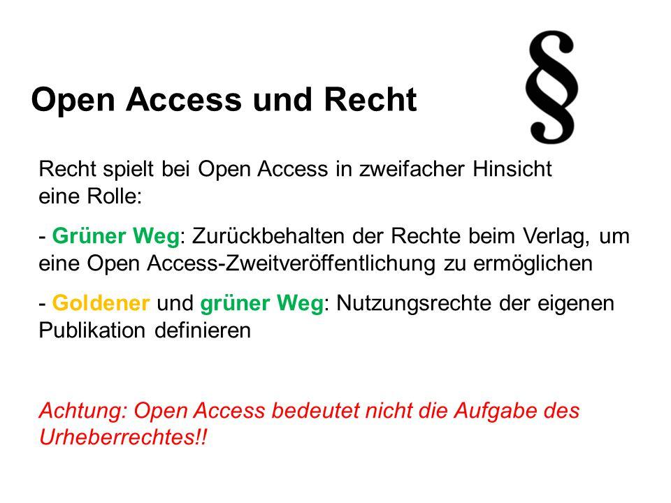 Open Access und Recht Recht spielt bei Open Access in zweifacher Hinsicht eine Rolle: - Grüner Weg: Zurückbehalten der Rechte beim Verlag, um eine Open Access-Zweitveröffentlichung zu ermöglichen - Goldener und grüner Weg: Nutzungsrechte der eigenen Publikation definieren Achtung: Open Access bedeutet nicht die Aufgabe des Urheberrechtes!!