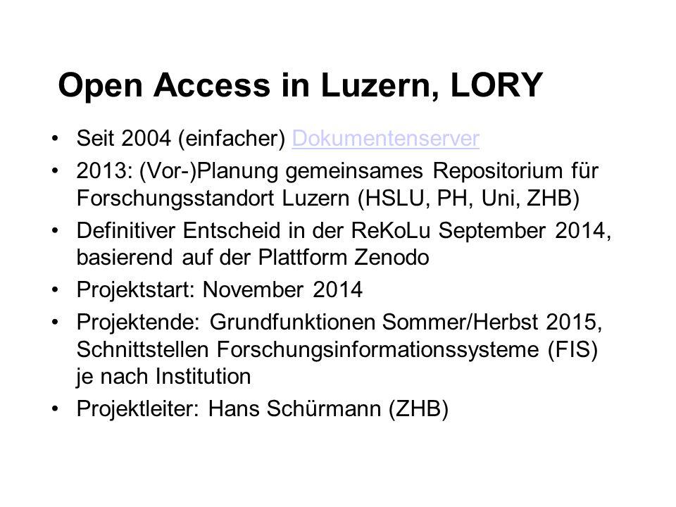 Open Access in Luzern, LORY Seit 2004 (einfacher) DokumentenserverDokumentenserver 2013: (Vor-)Planung gemeinsames Repositorium für Forschungsstandort Luzern (HSLU, PH, Uni, ZHB) Definitiver Entscheid in der ReKoLu September 2014, basierend auf der Plattform Zenodo Projektstart: November 2014 Projektende: Grundfunktionen Sommer/Herbst 2015, Schnittstellen Forschungsinformationssysteme (FIS) je nach Institution Projektleiter: Hans Schürmann (ZHB)