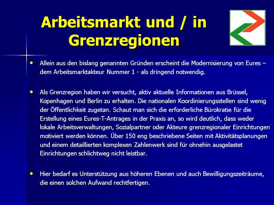 Arbeitsmarkt und / in Grenzregionen Allein aus den bislang genannten Gründen erscheint die Modernisierung von Eures – dem Arbeitsmarktakteur Nummer 1 - als dringend notwendig.