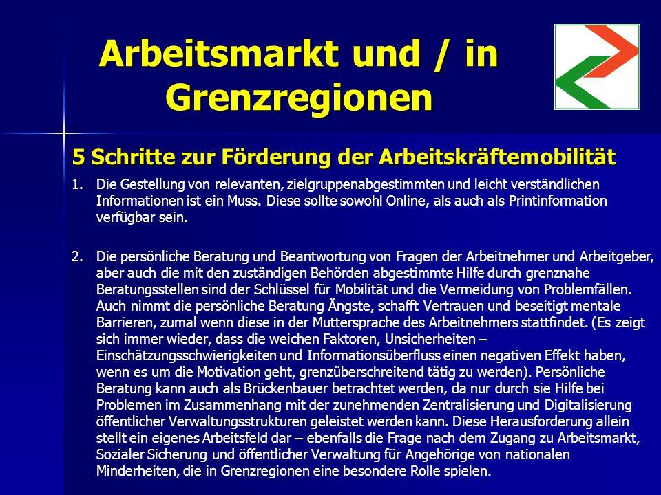 Arbeitsmarkt und / in Grenzregionen 5 Schritte zur Förderung der Arbeitskräftemobilität 1.