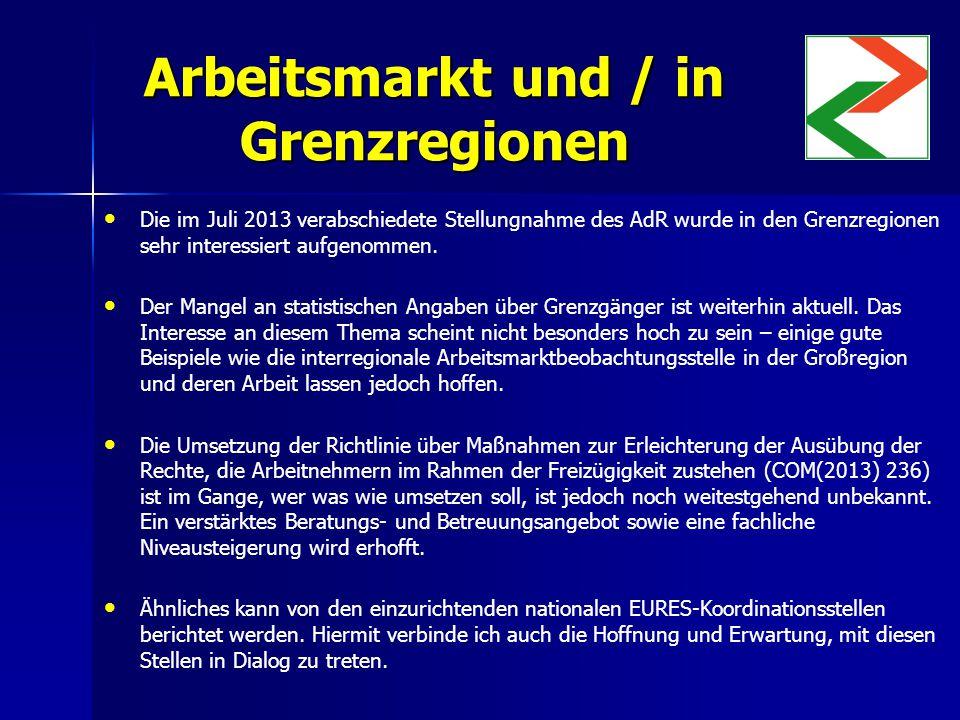 Arbeitsmarkt und / in Grenzregionen Die im Juli 2013 verabschiedete Stellungnahme des AdR wurde in den Grenzregionen sehr interessiert aufgenommen.