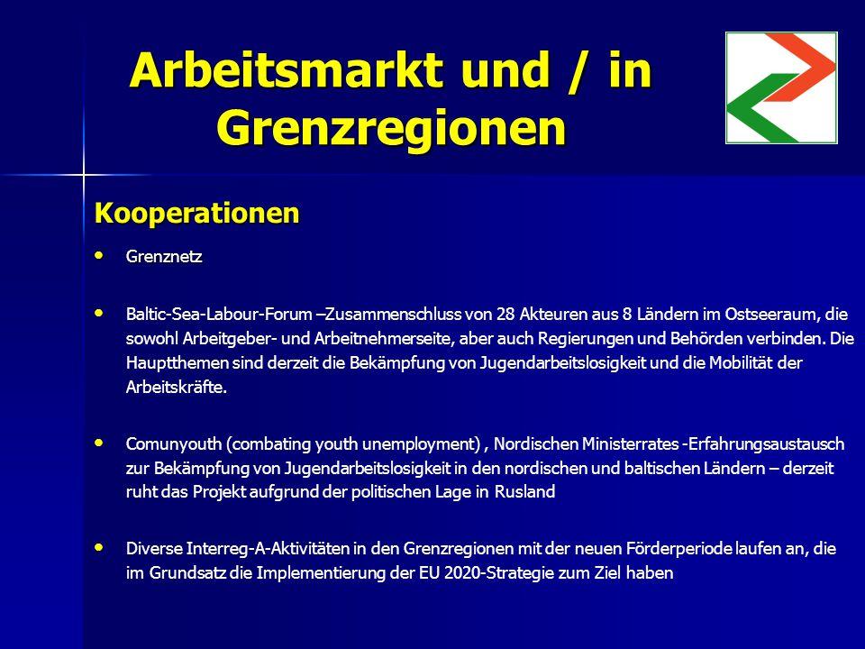 Arbeitsmarkt und / in Grenzregionen Kooperationen Grenznetz Grenznetz Baltic-Sea-Labour-Forum –Zusammenschluss von 28 Akteuren aus 8 Ländern im Ostseeraum, die sowohl Arbeitgeber- und Arbeitnehmerseite, aber auch Regierungen und Behörden verbinden.