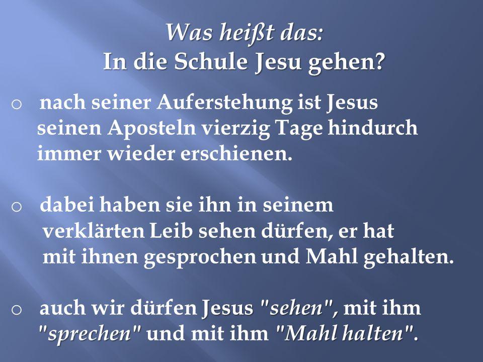 Was heißt das: In die Schule Jesu gehen? o nach seiner Auferstehung ist Jesus seinen Aposteln vierzig Tage hindurch immer wieder erschienen. o dabei h