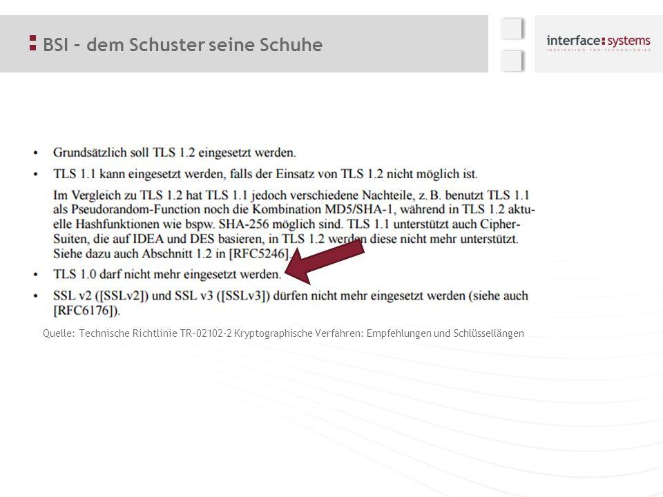 BSI – dem Schuster seine Schuhe Quelle: Technische Richtlinie TR-02102-2 Kryptographische Verfahren: Empfehlungen und Schlüssellängen