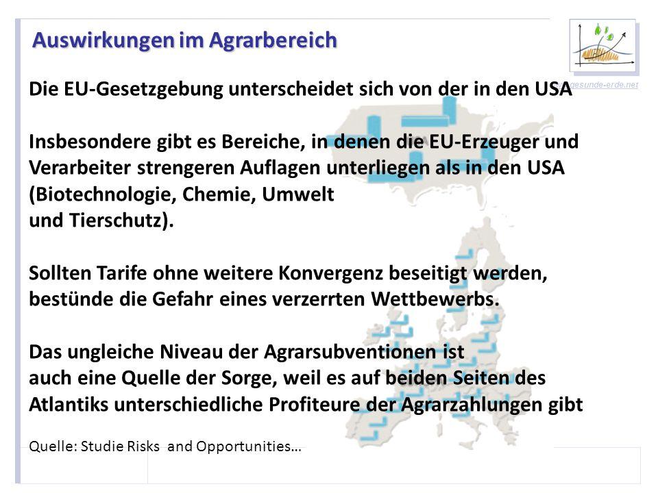 www.gesunde-erde.net Auswirkungen im Agrarbereich - Rindfleisch Die USA sind ein ausgesprochener Low-Cost Produzent mit völlig anderen Produktionseinheiten Einige EU-Sektoren müssen sich einem starken Wettbewerb stellen, wenn der Handel mit den USA liberalisiert wird Dies ist insbesondere der Fall für den Rindfleischsektor und die Mutterkuhhaltung.