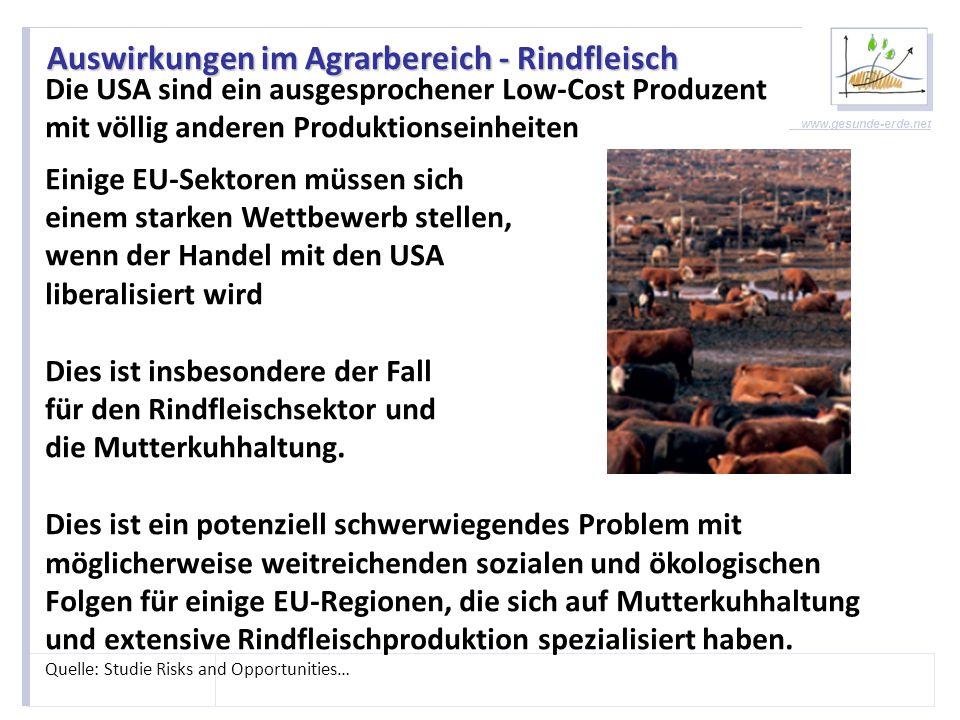 www.gesunde-erde.net Auswirkungen im Agrarbereich - Milch EU-Milchprodukte sind mit hohen Zöllen und Auflagen belegt, die ihren Einstieg in den US-Markt begrenzen.