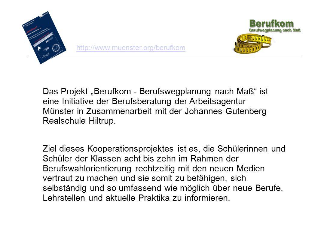 """Das Projekt """"Berufkom - Berufswegplanung nach Maß"""" ist eine Initiative der Berufsberatung der Arbeitsagentur Münster in Zusammenarbeit mit der Johanne"""