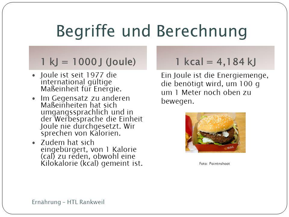 Begriffe und Berechnung 1 kJ = 1000 J (Joule)1 kcal = 4,184 kJ Ernährung - HTL Rankweil Joule ist seit 1977 die international gültige Maßeinheit für E