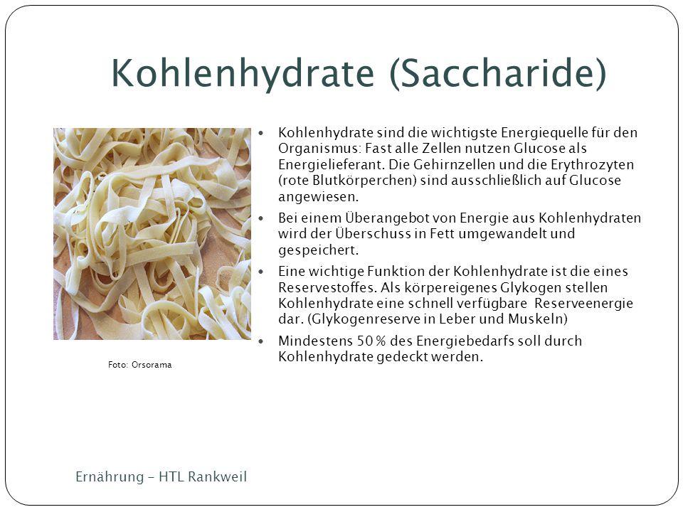 Kohlenhydrate (Saccharide) Ernährung - HTL Rankweil Kohlenhydrate sind die wichtigste Energiequelle für den Organismus: Fast alle Zellen nutzen Glucos