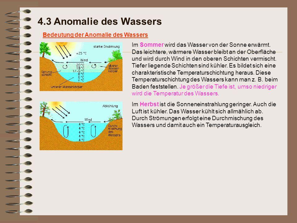 4.3 Anomalie des Wassers Bedeutung der Anomalie des Wassers Im Sommer wird das Wasser von der Sonne erwärmt. Das leichtere, wärmere Wasser bleibt an d