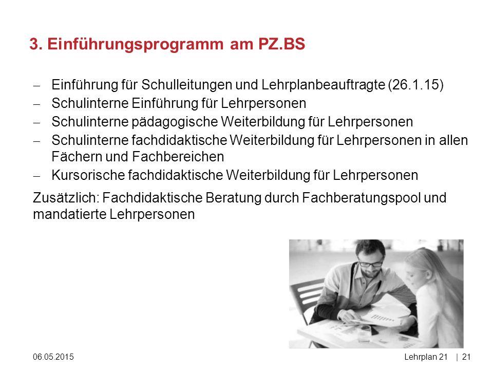 3. Einführungsprogramm am PZ.BS 06.05.2015Lehrplan 21|21  Einführung für Schulleitungen und Lehrplanbeauftragte (26.1.15)  Schulinterne Einführung f