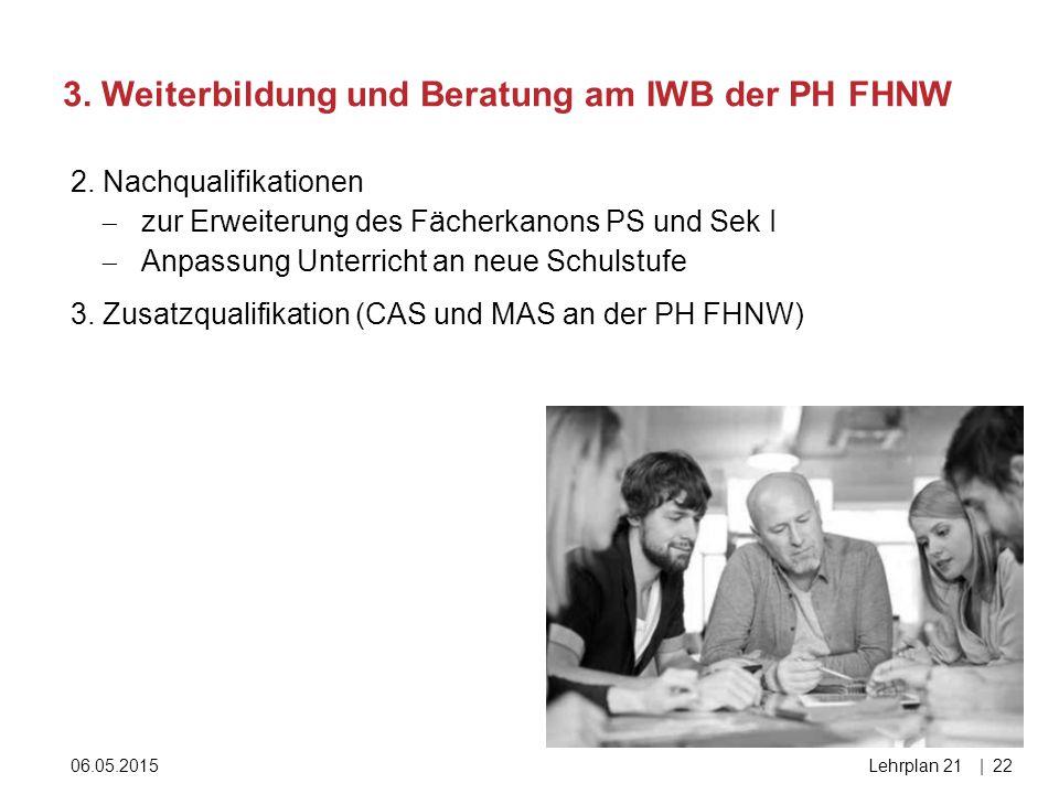 3. Weiterbildung und Beratung am IWB der PH FHNW 06.05.2015Lehrplan 21|22 2. Nachqualifikationen  zur Erweiterung des Fächerkanons PS und Sek I  Anp