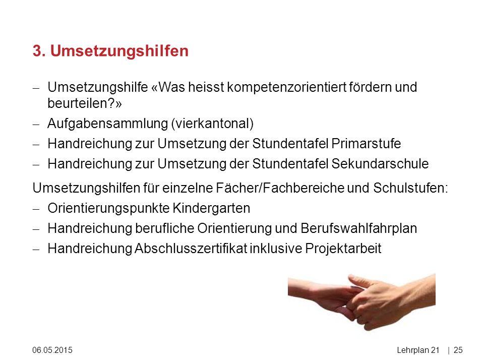 06.05.2015Lehrplan 21|25  Umsetzungshilfe «Was heisst kompetenzorientiert fördern und beurteilen?»  Aufgabensammlung (vierkantonal)  Handreichung z