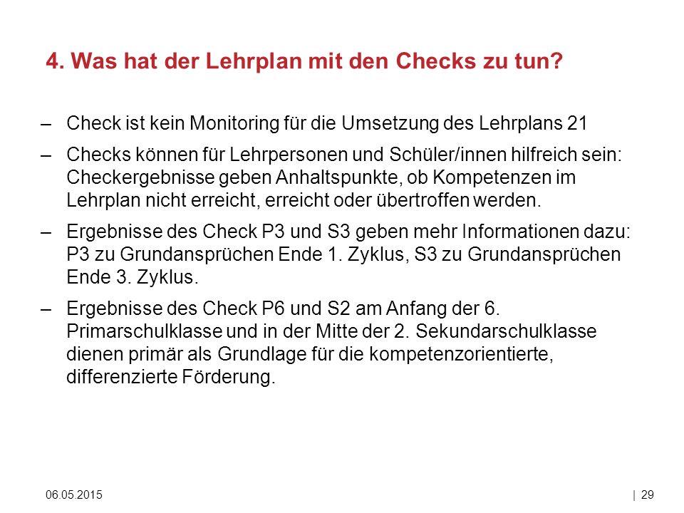 –Check ist kein Monitoring für die Umsetzung des Lehrplans 21 –Checks können für Lehrpersonen und Schüler/innen hilfreich sein: Checkergebnisse geben