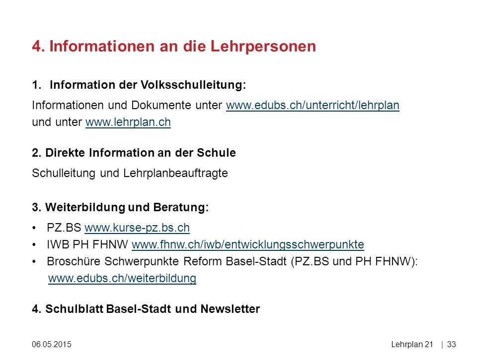 4. Informationen an die Lehrpersonen 06.05.2015Lehrplan 21|33 1.Information der Volksschulleitung: Informationen und Dokumente unter www.edubs.ch/unte