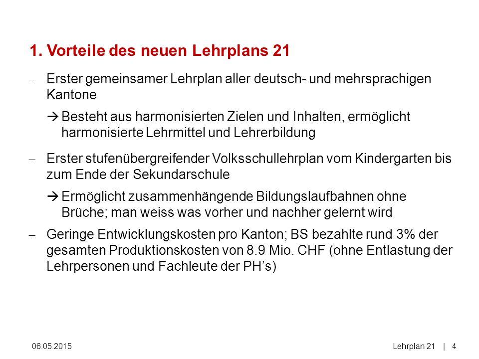 06.05.2015Lehrplan 21| 4  Erster gemeinsamer Lehrplan aller deutsch- und mehrsprachigen Kantone  Besteht aus harmonisierten Zielen und Inhalten, erm