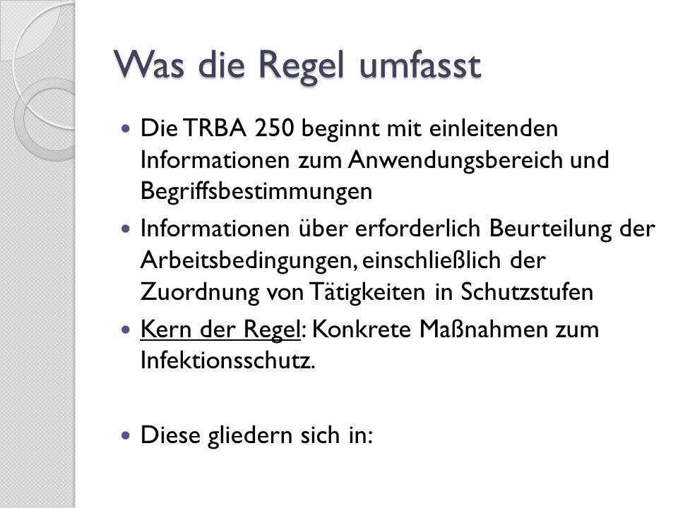 Mindestschutzmaßnahmen für den gesamten Anwendungsbereich der TRBA 250 Zusätzliche Maßnahmen für die verschiedenen Schutzstufen Besondere und zusätzliche Maßnahmen für spezifische Arbeitsbereiche und Tätigkeiten U.v.a.m.