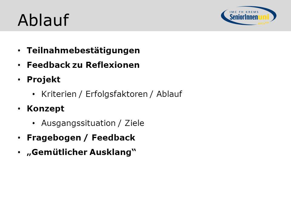 Ablauf Teilnahmebestätigungen Feedback zu Reflexionen Projekt Kriterien / Erfolgsfaktoren / Ablauf Konzept Ausgangssituation / Ziele Fragebogen / Feed