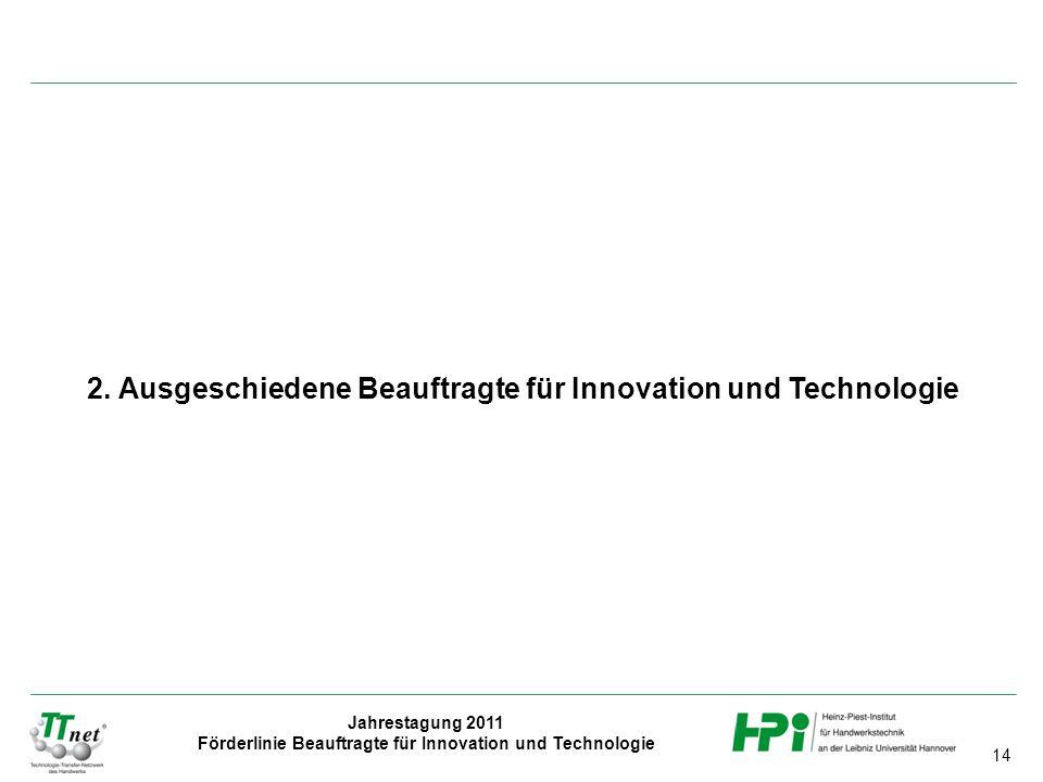 14 Jahrestagung 2011 Förderlinie Beauftragte für Innovation und Technologie 2. Ausgeschiedene Beauftragte für Innovation und Technologie