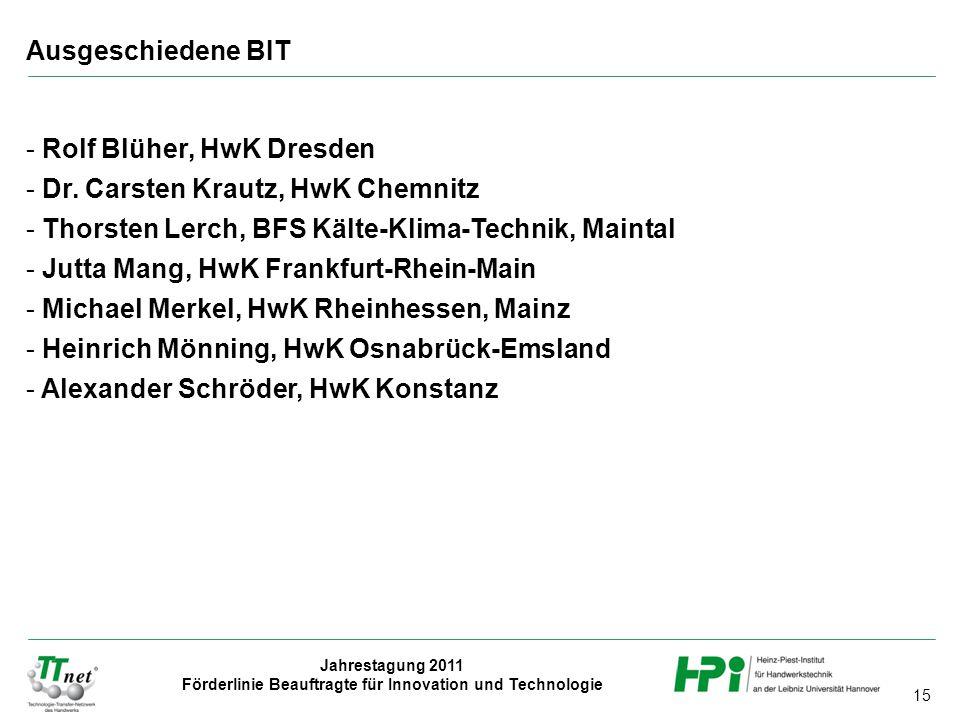 15 Jahrestagung 2011 Förderlinie Beauftragte für Innovation und Technologie - Rolf Blüher, HwK Dresden - Dr. Carsten Krautz, HwK Chemnitz - Thorsten L