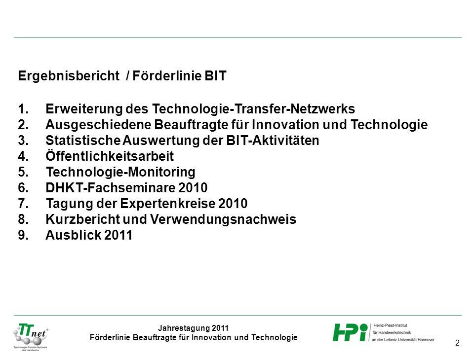 2 Jahrestagung 2011 Förderlinie Beauftragte für Innovation und Technologie Ergebnisbericht / Förderlinie BIT 1.Erweiterung des Technologie-Transfer-Ne
