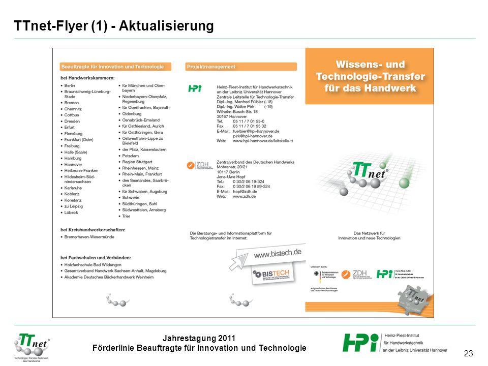 23 Jahrestagung 2011 Förderlinie Beauftragte für Innovation und Technologie TTnet-Flyer (1) - Aktualisierung
