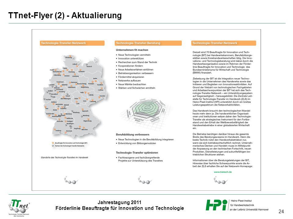 24 Jahrestagung 2011 Förderlinie Beauftragte für Innovation und Technologie TTnet-Flyer (2) - Aktualierung