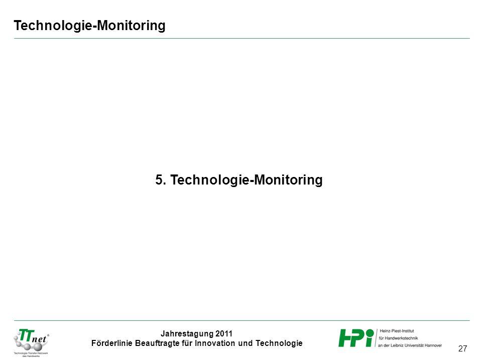 27 Jahrestagung 2011 Förderlinie Beauftragte für Innovation und Technologie 5. Technologie-Monitoring Technologie-Monitoring