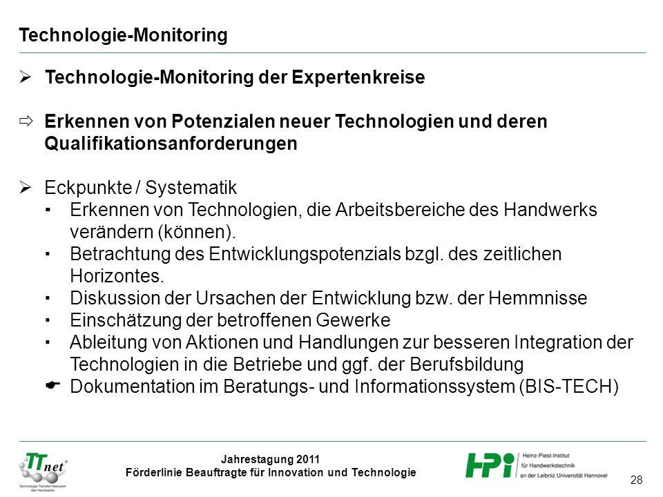 28 Jahrestagung 2011 Förderlinie Beauftragte für Innovation und Technologie  Technologie-Monitoring der Expertenkreise  Erkennen von Potenzialen neuer Technologien und deren Qualifikationsanforderungen  Eckpunkte / Systematik  Erkennen von Technologien, die Arbeitsbereiche des Handwerks verändern (können).