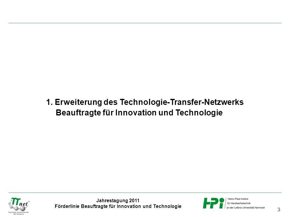 3 Jahrestagung 2011 Förderlinie Beauftragte für Innovation und Technologie 1. Erweiterung des Technologie-Transfer-Netzwerks Beauftragte für Innovatio