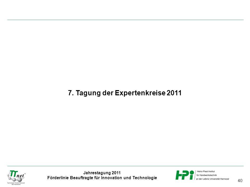 40 Jahrestagung 2011 Förderlinie Beauftragte für Innovation und Technologie 7. Tagung der Expertenkreise 2011