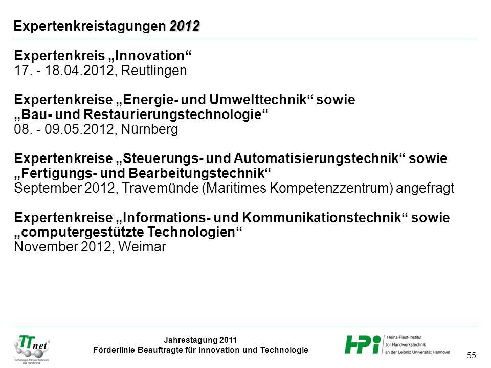 """55 Jahrestagung 2011 Förderlinie Beauftragte für Innovation und Technologie 2012 Expertenkreistagungen 2012 Expertenkreis """"Innovation"""" 17. - 18.04.201"""