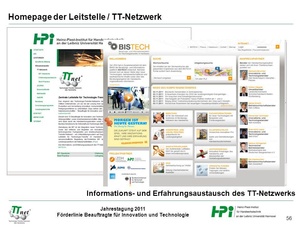 56 Jahrestagung 2011 Förderlinie Beauftragte für Innovation und Technologie Homepage der Leitstelle / TT-Netzwerk Informations- und Erfahrungsaustausc