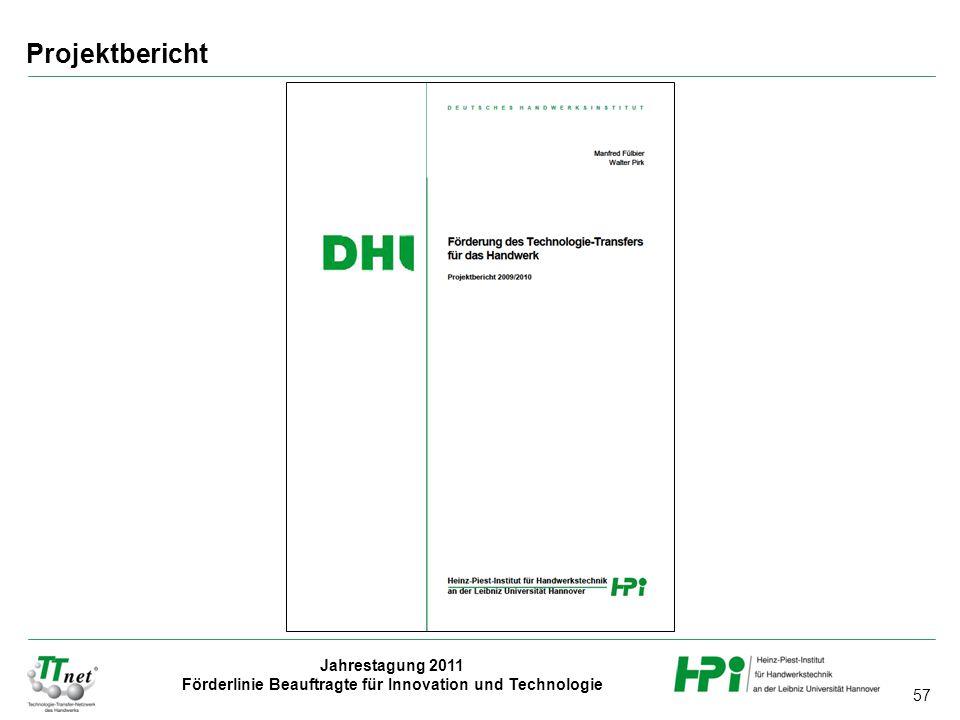 57 Jahrestagung 2011 Förderlinie Beauftragte für Innovation und Technologie Projektbericht