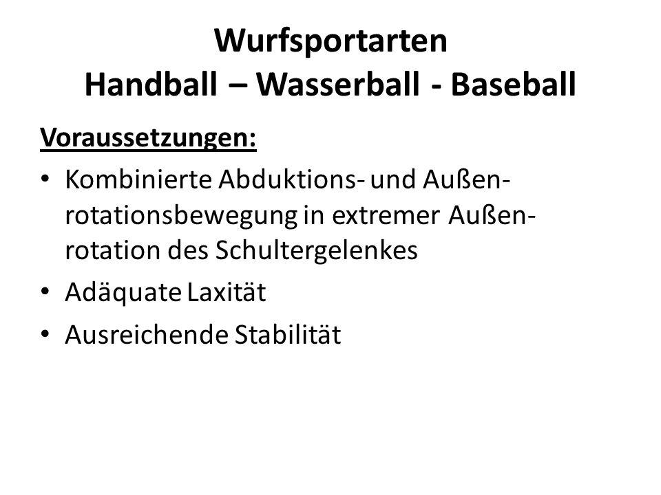 Wurfsportarten Handball – Wasserball - Baseball Voraussetzungen: Kombinierte Abduktions- und Außen- rotationsbewegung in extremer Außen- rotation des