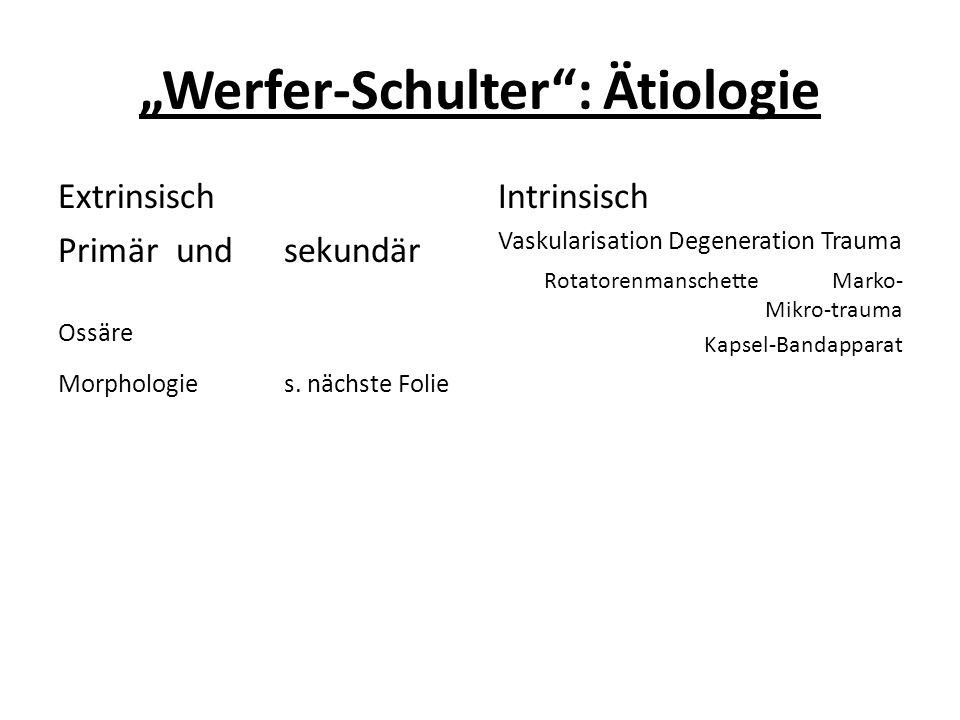 """""""Werfer-Schulter"""": Ätiologie Extrinsisch Primär und sekundär Ossäre Morphologie s. nächste Folie Intrinsisch Vaskularisation Degeneration Trauma Rotat"""