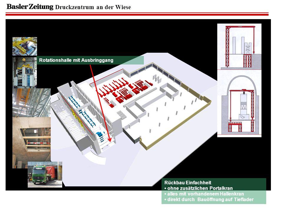 Druckzentrum an der Wiese Rotationshalle mit Ausbringgang Rückbau Einfachheit ohne zusätzlichen Portalkran alles mit vorhandenem Hallenkran direkt durch Bauöffnung auf Tieflader