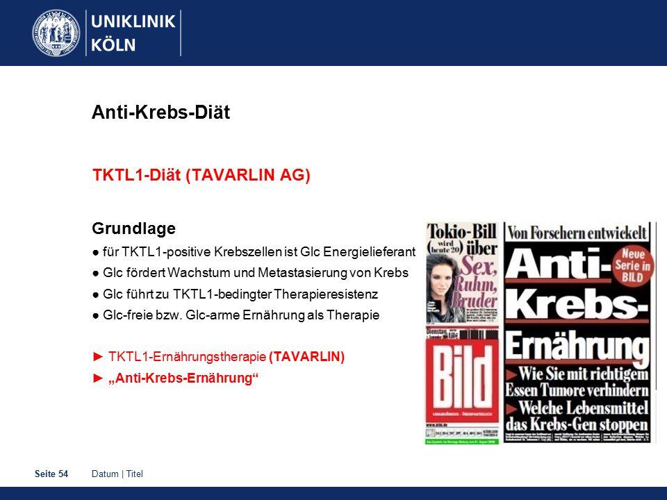 Datum | TitelSeite 54 Anti-Krebs-Diät TKTL1-Diät (TAVARLIN AG) Grundlage ● für TKTL1-positive Krebszellen ist Glc Energielieferant ● Glc fördert Wachs