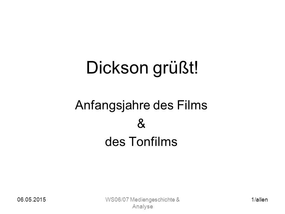 """06.05.2015WS06/07 Mediengeschichte & Analyse 2/allen Vorgänger des Films: –17.Jhdt.: Laterna Magica –1832: Lebensrad (S.Stampfer / A und J.Plateau / B) –1872: Serienfotographie (E.Muybridge / UK) –1886: Elektrotachyscop (O.Anschütz / D) –1888: Louis Le Prince (F) dreht die """"Roundhay Garden Scene (Rollfilm, Einlinsige Kamera) –1891: William Kennedy Dickson dreht in Edisons Black Maria Studio erste Kurzfilme auf 35mm Film Filmgeschichte"""