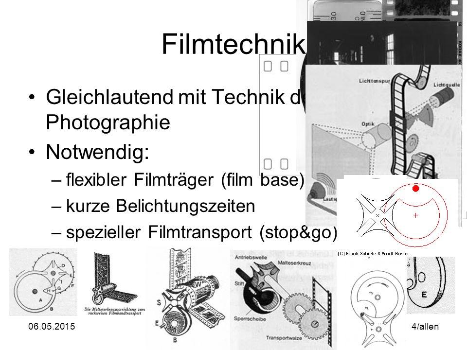 """06.05.2015WS06/07 Mediengeschichte & Analyse 5/allen Filmtechnik Filmton –Erste Versuche 1894 durch Dickson –""""unzusammenhängende Vertonungen mit Walze und später Platte Kinetophon, etc."""