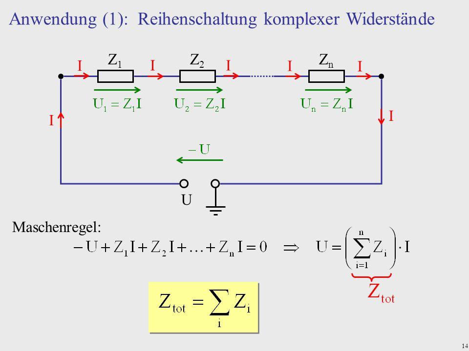 14 Anwendung (1): Reihenschaltung komplexer Widerstände U Z1Z1 Z2Z2 ZnZn I I I I I I I Maschenregel: