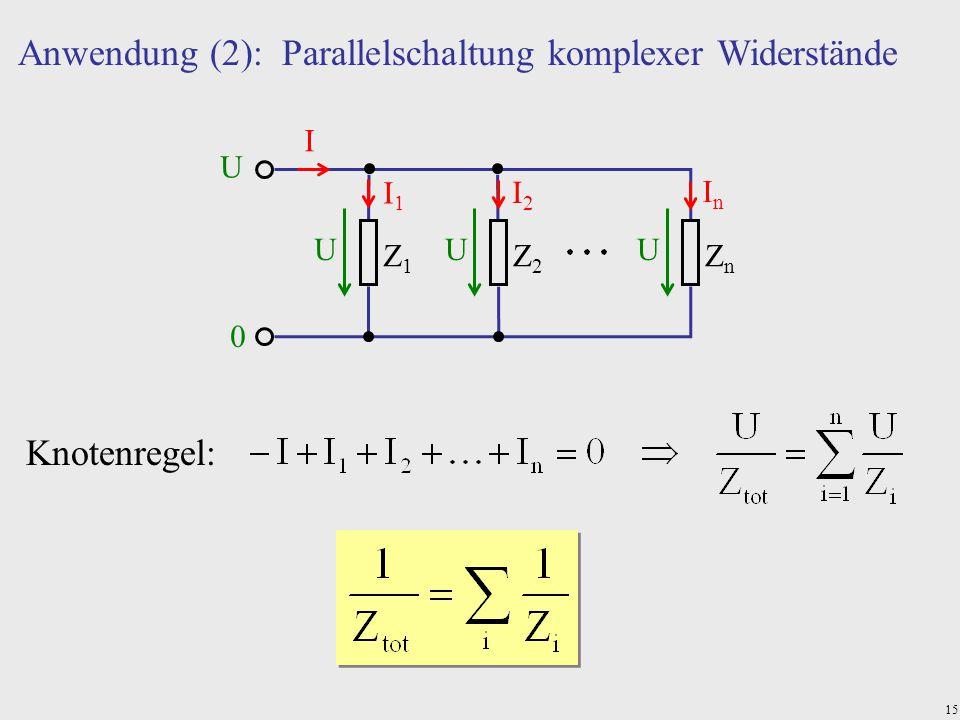 15 Z1Z1 Z2Z2 ZnZn Anwendung (2): Parallelschaltung komplexer Widerstände Knotenregel: U 0 UUU I I1I1 I2I2 InIn