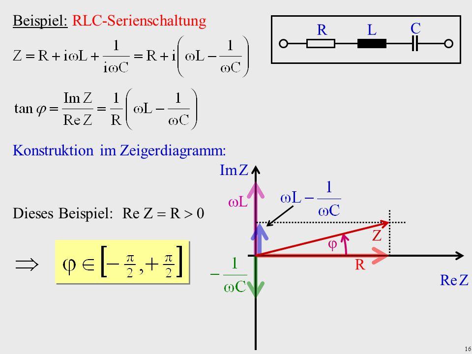 16  Beispiel: RLC-Serienschaltung RL C Konstruktion im Zeigerdiagramm: Re Z Im Z R LL Z Dieses Beispiel: Re Z  R  0