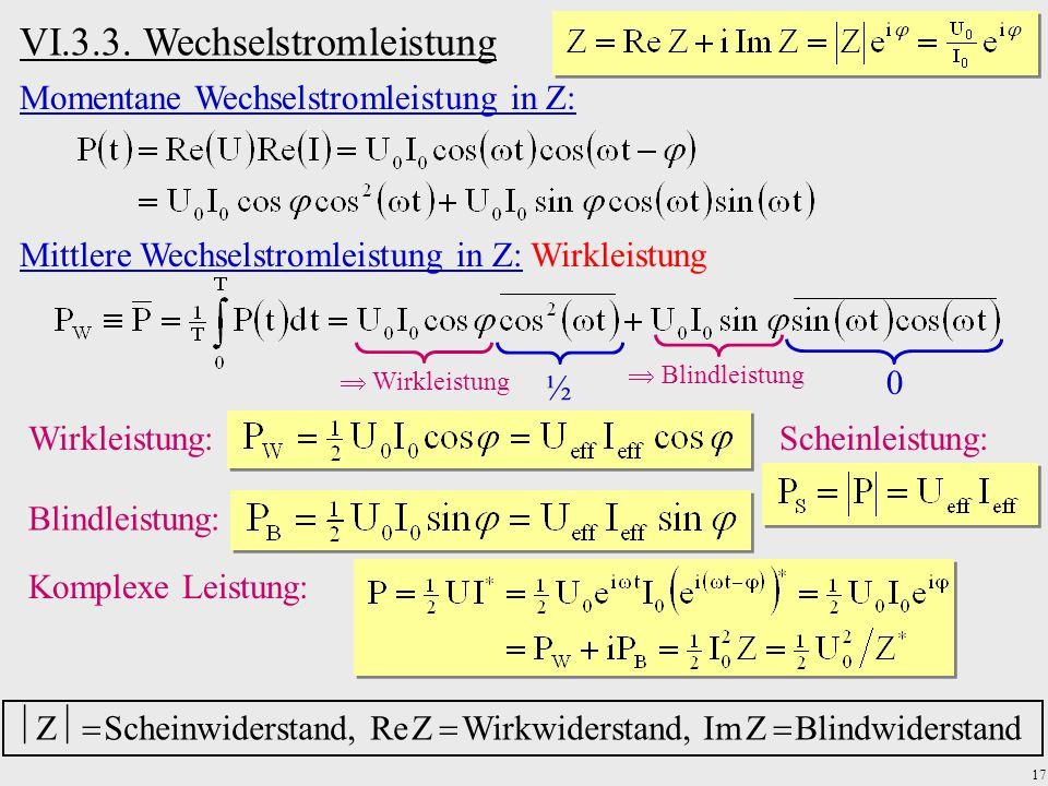 17 Momentane Wechselstromleistung in Z: Mittlere Wechselstromleistung in Z: Wirkleistung ½ 0 Wirkleistung: Blindleistung:  Blindleistung Komplexe Lei
