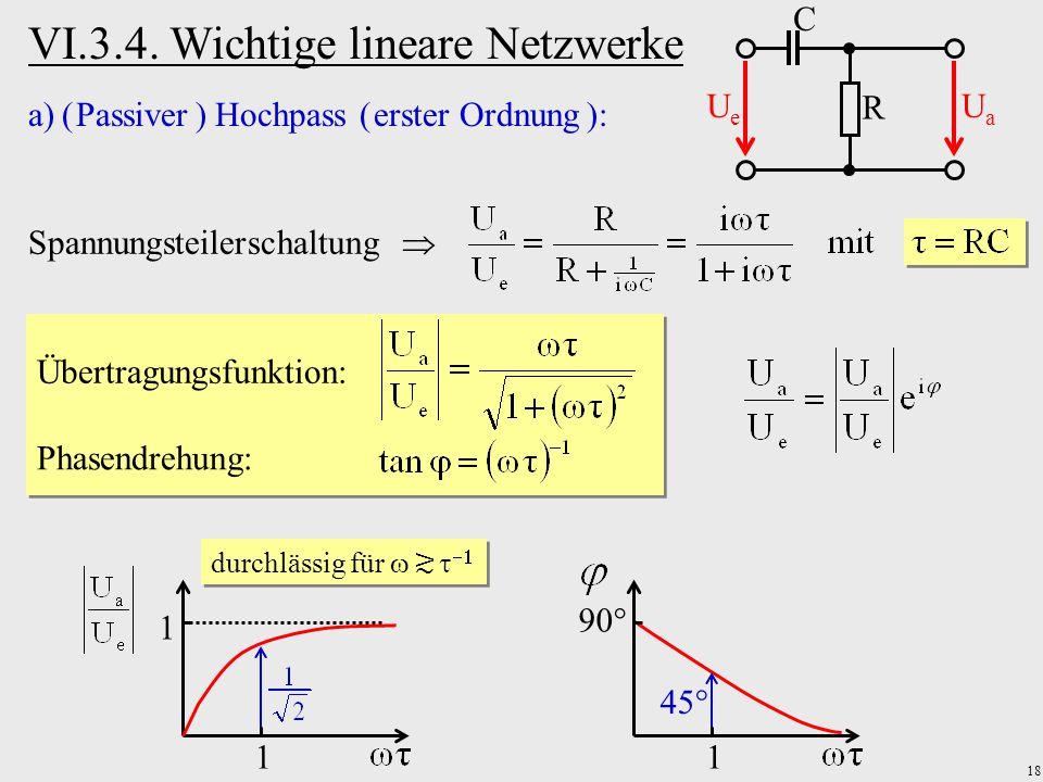 18 VI.3.4. Wichtige lineare Netzwerke a)( Passiver ) Hochpass ( erster Ordnung ): R C UeUe UaUa Spannungsteilerschaltung  Übertragungsfunktion: Phase