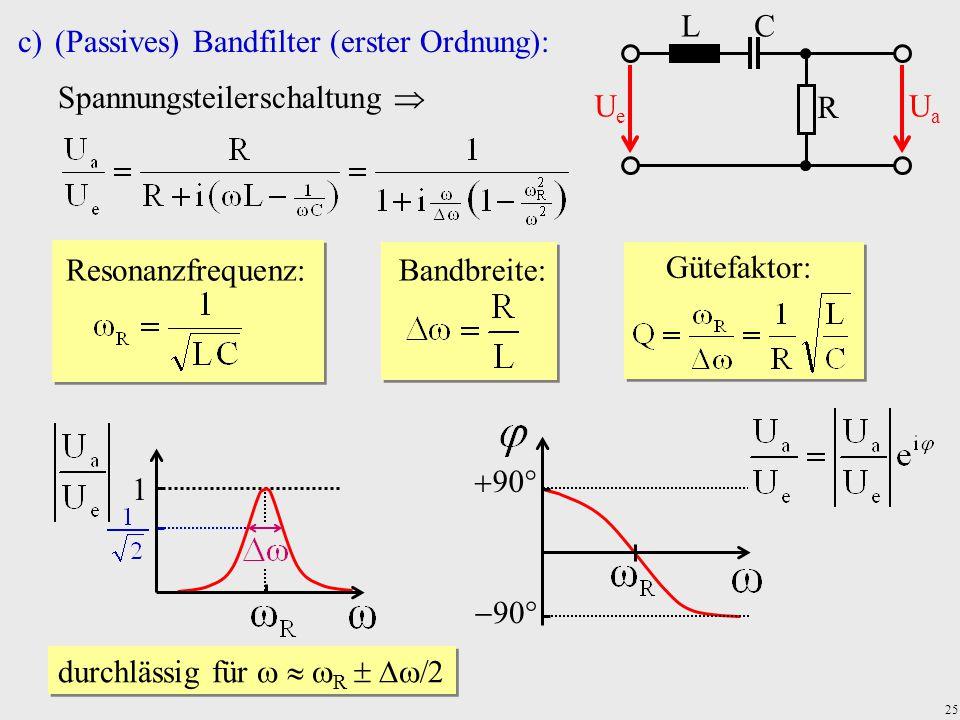 25 c)(Passives) Bandfilter (erster Ordnung): Spannungsteilerschaltung  R C UeUe UaUa L Resonanzfrequenz: Bandbreite: Gütefaktor: 1 durchlässig für 