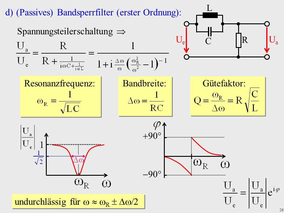 26 d)(Passives) Bandsperrfilter (erster Ordnung): Spannungsteilerschaltung  Resonanzfrequenz:Bandbreite:Gütefaktor: R C UeUe UaUa L 1 undurchlässig f