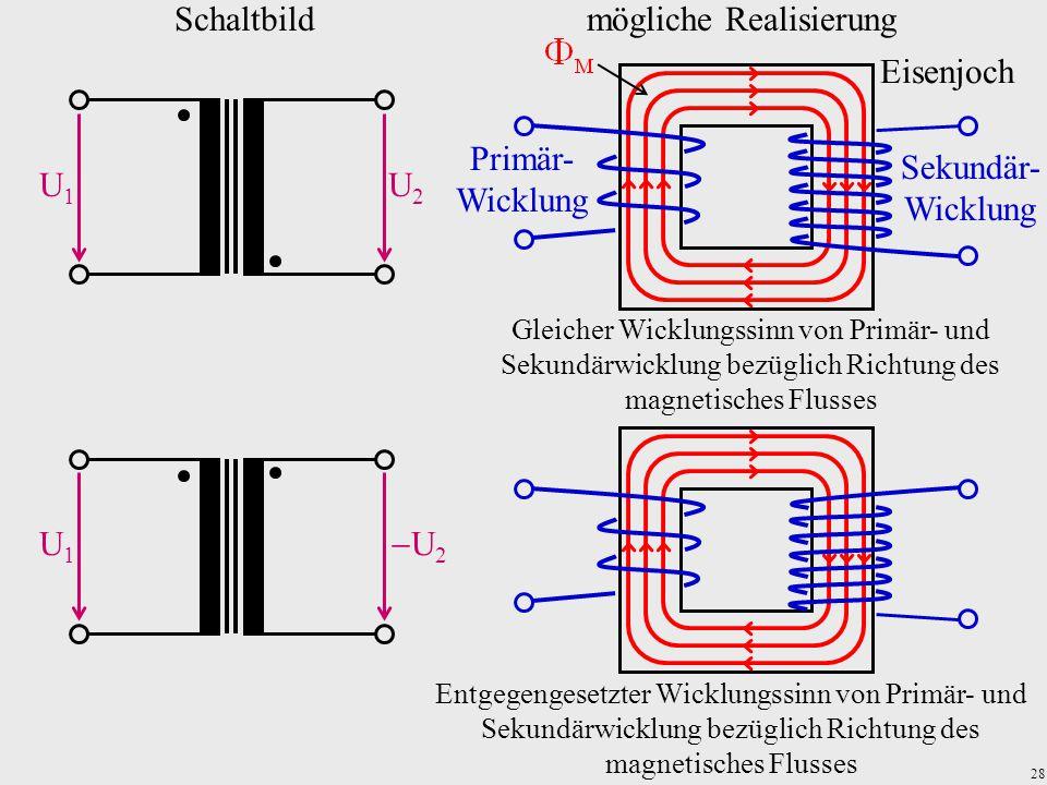 28 Schaltbildmögliche Realisierung Gleicher Wicklungssinn von Primär- und Sekundärwicklung bezüglich Richtung des magnetisches Flusses Primär- Wicklun