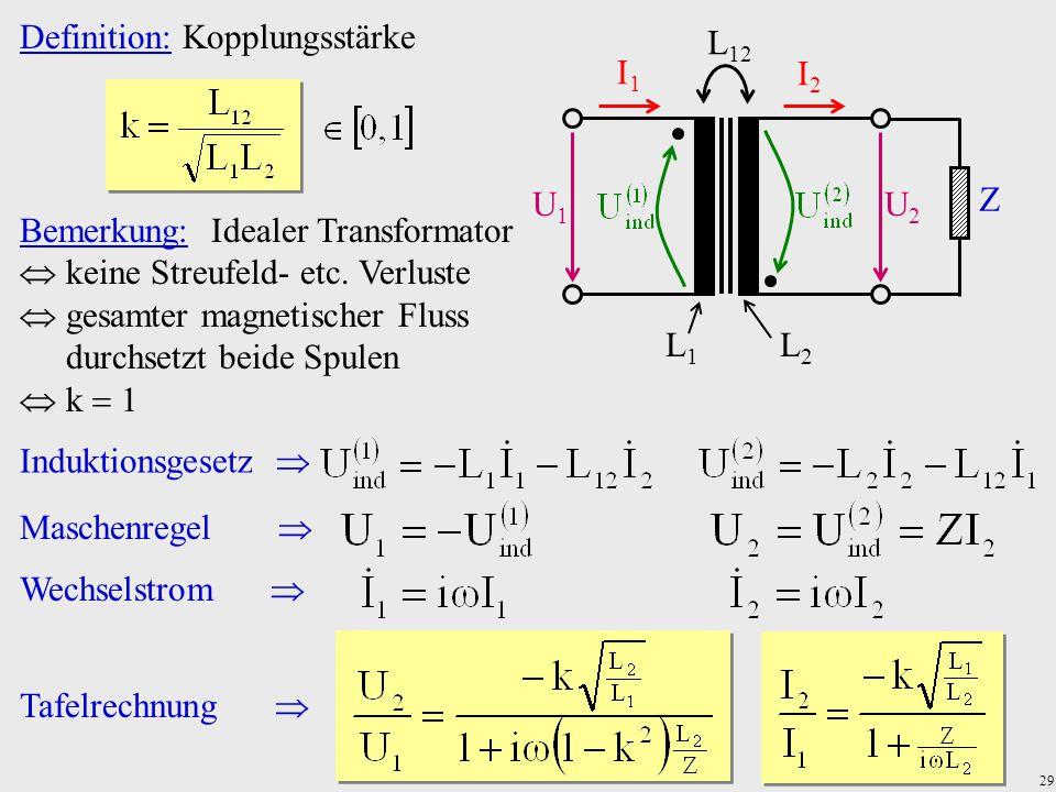 29 U1U1 U2U2 I1I1 I2I2 Z L1L1 L2L2 L 12 Definition: Kopplungsstärke Bemerkung: Idealer Transformator  keine Streufeld- etc. Verluste  gesamter magne